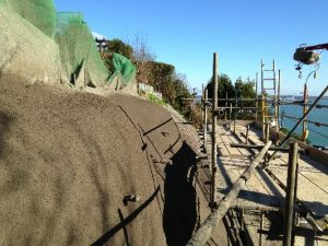 sprayed concrete on embankment