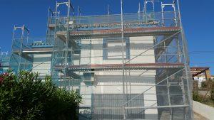 Scaffold erected around villa