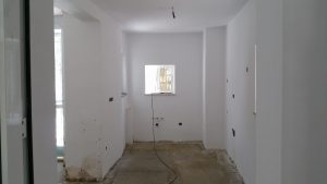 plastering of walls in kitchen