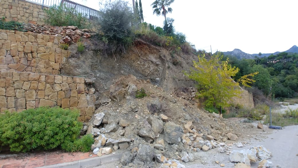Collapsed Retaining Wall, Marbella